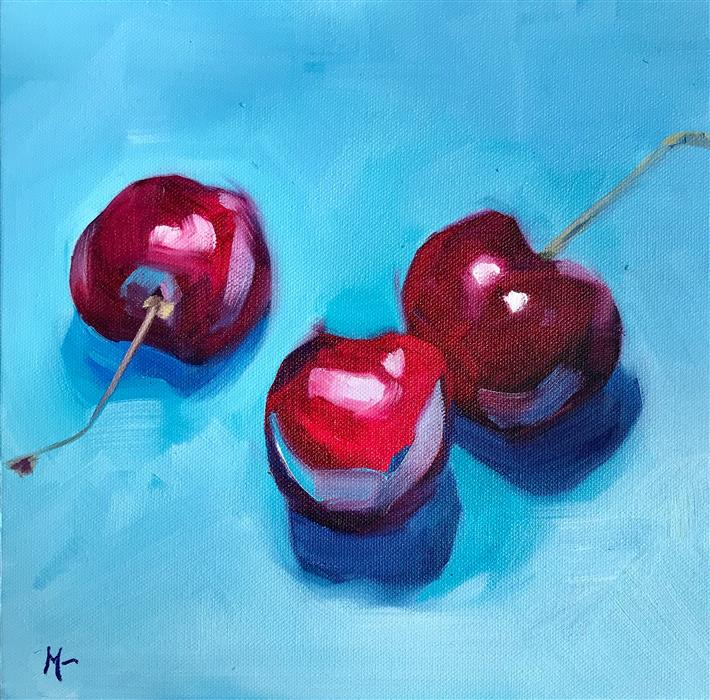 Discover Original Art by Malia Pettit | Three Cherries on Blue oil painting | Art for Sale Online at UGallery
