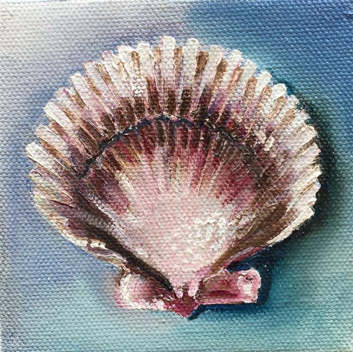 Discover Original Art by Kristine Kainer | Scallop Shell oil painting | Art for Sale Online at UGallery