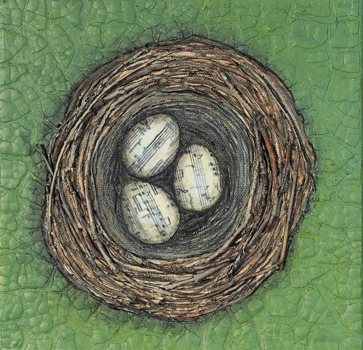 Discover Original Art by Jennifer Ross | Nestmaking-Song Sparrow's Nest mixed media artwork | Art for Sale Online at UGallery