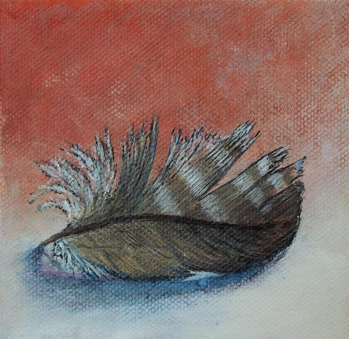 Discover Original Art by Jennifer Ross | Feather on Orange acrylic painting | Art for Sale Online at UGallery