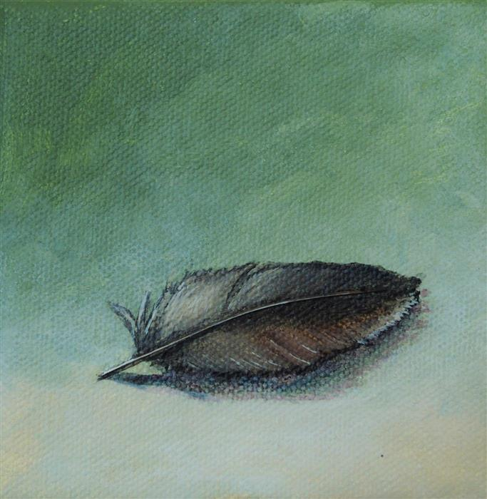 Discover Original Art by Jennifer Ross | Feather on Green acrylic painting | Art for Sale Online at UGallery