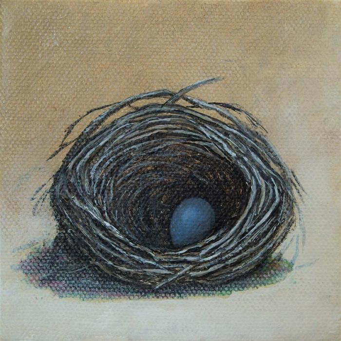 Discover Original Art by Jennifer Ross | Nest on Tan acrylic painting | Art for Sale Online at UGallery