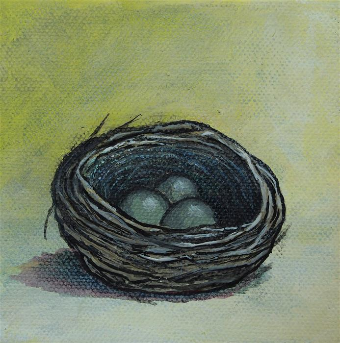 Discover Original Art by Jennifer Ross | Nest on Yellow acrylic painting | Art for Sale Online at UGallery