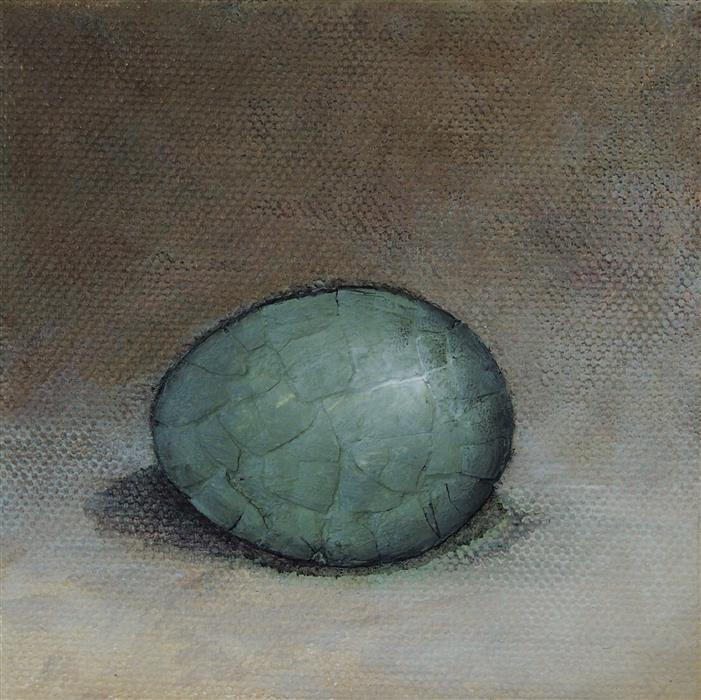 Discover Original Art by Jennifer Ross | Green Egg on Brown mixed media artwork | Art for Sale Online at UGallery