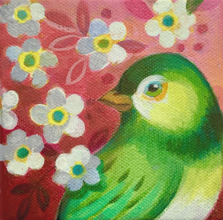Discover Original Art by Johnny Karwan | Green Canary acrylic painting | Art for Sale Online at UGallery