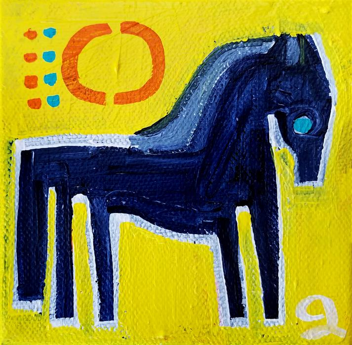 Discover Original Art by Jessica JH Roller | Pony on Yellow acrylic painting | Art for Sale Online at UGallery
