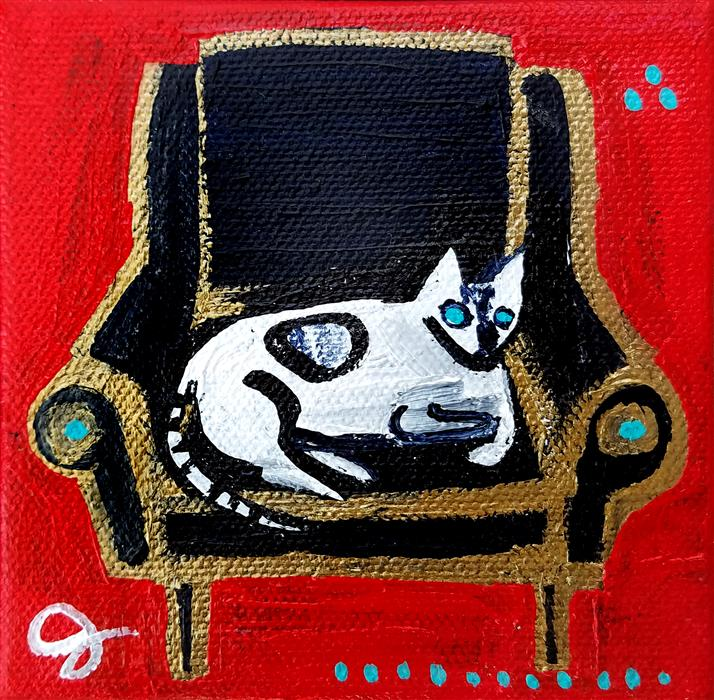 Discover Original Art by Jessica JH Roller | Cat on Chair acrylic painting | Art for Sale Online at UGallery