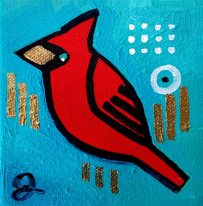 Discover Original Art by Jessica JH Roller | Cardinal on Turquoise acrylic painting | Art for Sale Online at UGallery