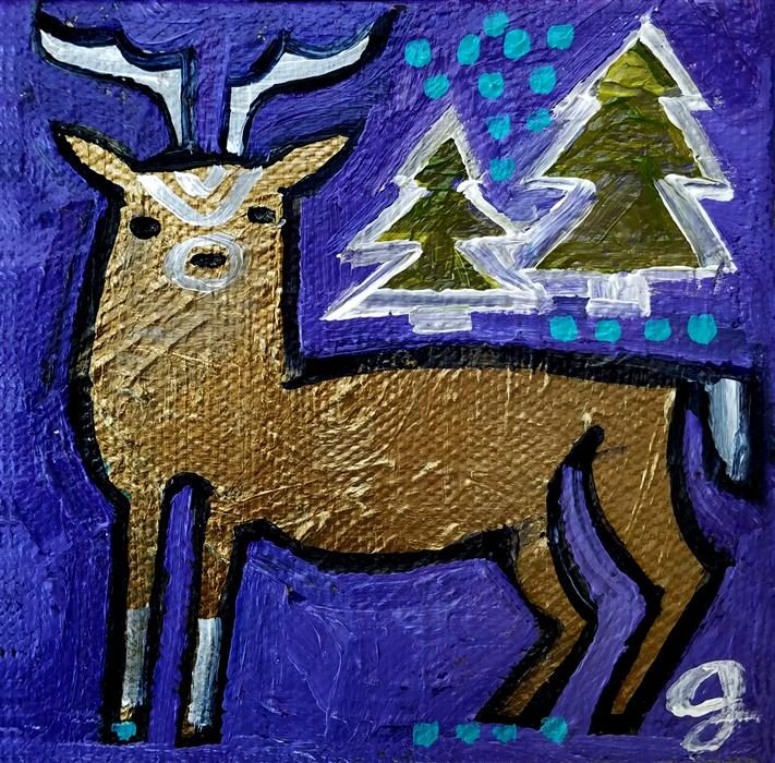 Discover Original Art by Jessica JH Roller | Bronze Buck acrylic painting | Art for Sale Online at UGallery