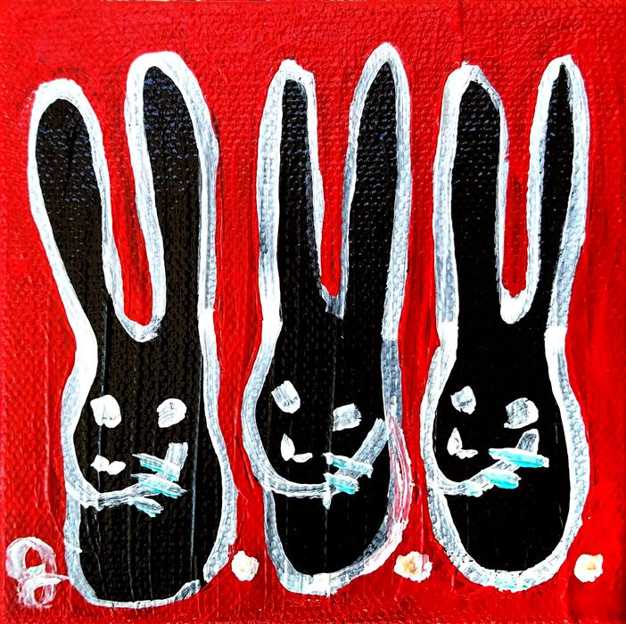Discover Original Art by Jessica JH Roller | Three Bunnies acrylic painting | Art for Sale Online at UGallery