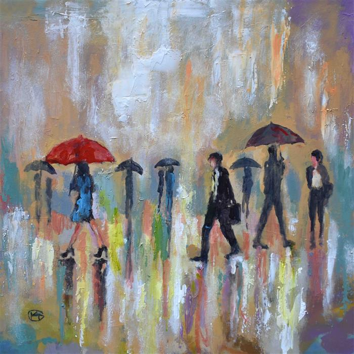Discover Original Art by Kip Decker | Red Umbrella acrylic painting | Art for Sale Online at UGallery