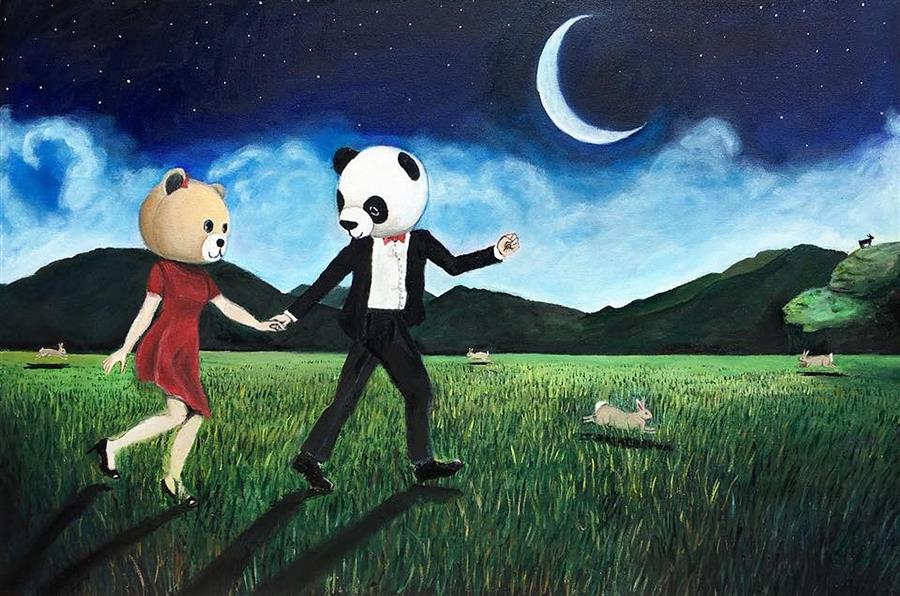 Discover Original Art by Kat Silver | Frolicking by Moonlight oil painting | Art for Sale Online at UGallery