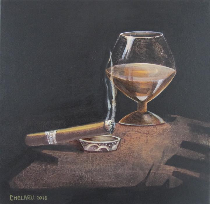 Discover Original Art by Diana Elena Chelaru | Smoking a Cigar acrylic painting | Art for Sale Online at UGallery