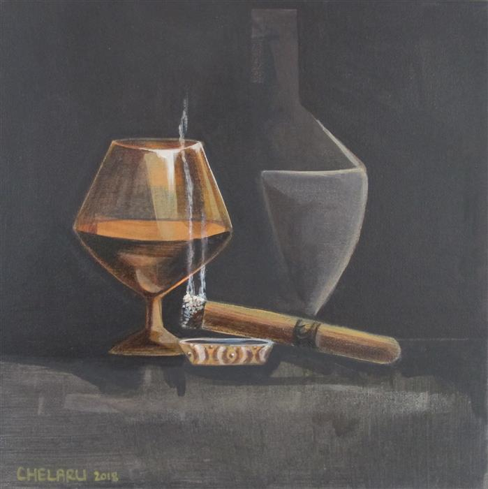 Discover Original Art by Diana Elena Chelaru | Cognac on a Late Night acrylic painting | Art for Sale Online at UGallery