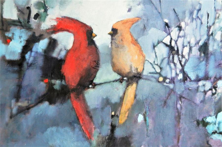 Discover Original Art by Mary Pratt | Winter Birds oil painting | Art for Sale Online at UGallery