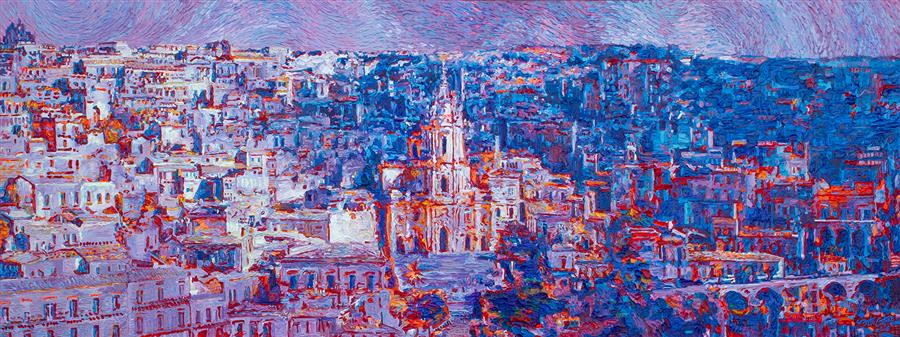 Discover Original Art by Seth Couture | Mother of Modica, Duomo di San Giorgio, Sicily acrylic painting | Art for Sale Online at UGallery