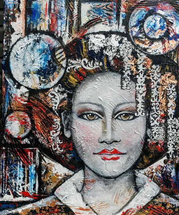 Discover Original Art by Clemence Dubois | The Lady of Liberty mixed media artwork | Art for Sale Online at UGallery
