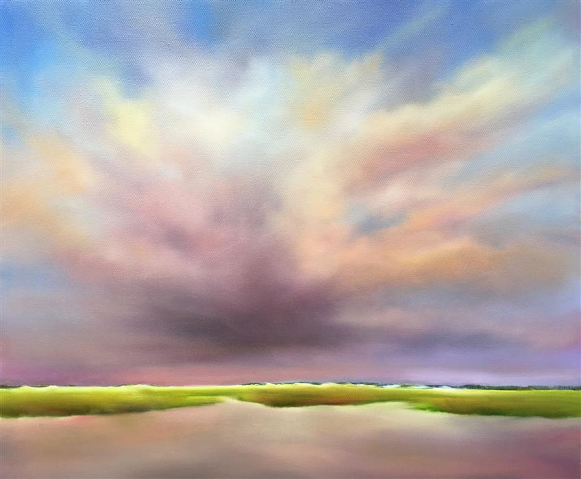 Discover Original Art by Nancy Hughes Miller | Dusky Sky Beach Marsh oil painting | Art for Sale Online at UGallery