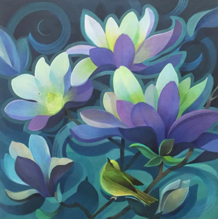 Discover Original Art by Johnny Karwan | Moonlight Magnolias acrylic painting | Art for Sale Online at UGallery