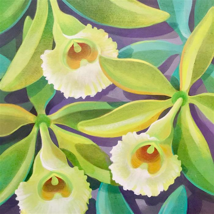 Discover Original Art by Johnny Karwan | Vanilla Orchids acrylic painting | Art for Sale Online at UGallery