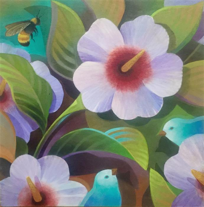 Discover Original Art by Johnny Karwan | Birds, Bee & Hibiscus acrylic painting | Art for Sale Online at UGallery