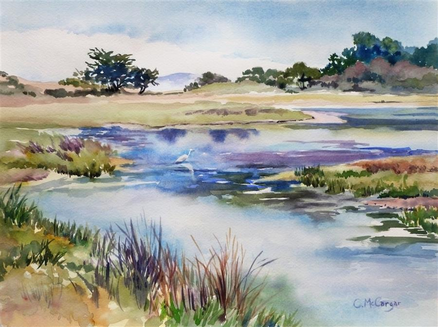 Discover Original Art by Catherine McCargar | Coastal Lagoon watercolor painting | Art for Sale Online at UGallery