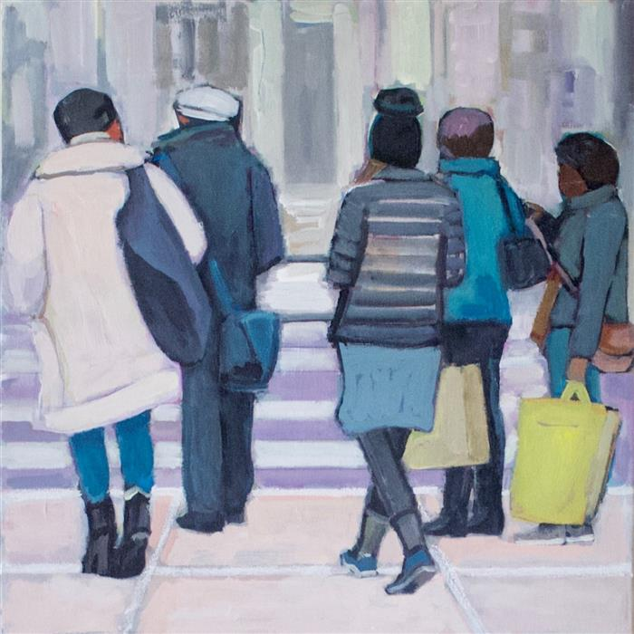 Discover Original Art by Carey Parks | Out of the Subway acrylic painting | Art for Sale Online at UGallery