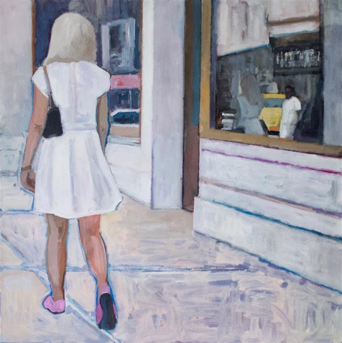 Discover Original Art by Carey Parks | Window Shopping acrylic painting | Art for Sale Online at UGallery