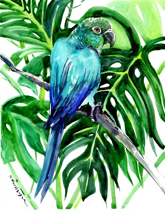 Discover Original Art by Suren Nersisyan | Green Conure and Philodendron, Tropical watercolor painting | Art for Sale Online at UGallery