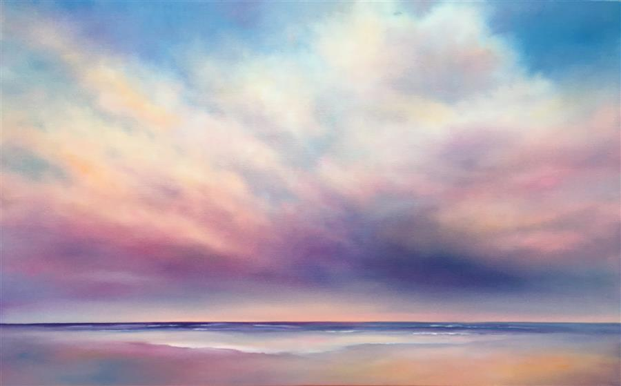 Discover Original Art by Nancy Hughes Miller | Beach Cloudscape II oil painting | Art for Sale Online at UGallery