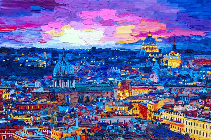 Discover Original Art by Seth Couture | Metropolitan Rome at Sunset acrylic painting | Art for Sale Online at UGallery