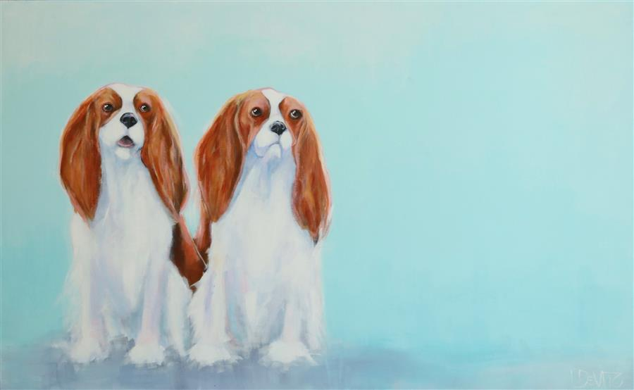 Discover Original Art by Lesli DeVito | Two Cavaliers acrylic painting | Art for Sale Online at UGallery