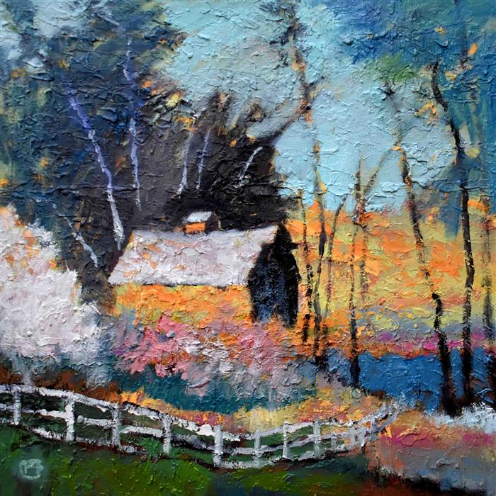 Discover Original Art by Kip Decker | Barn By The Lake acrylic painting | Art for Sale Online at UGallery
