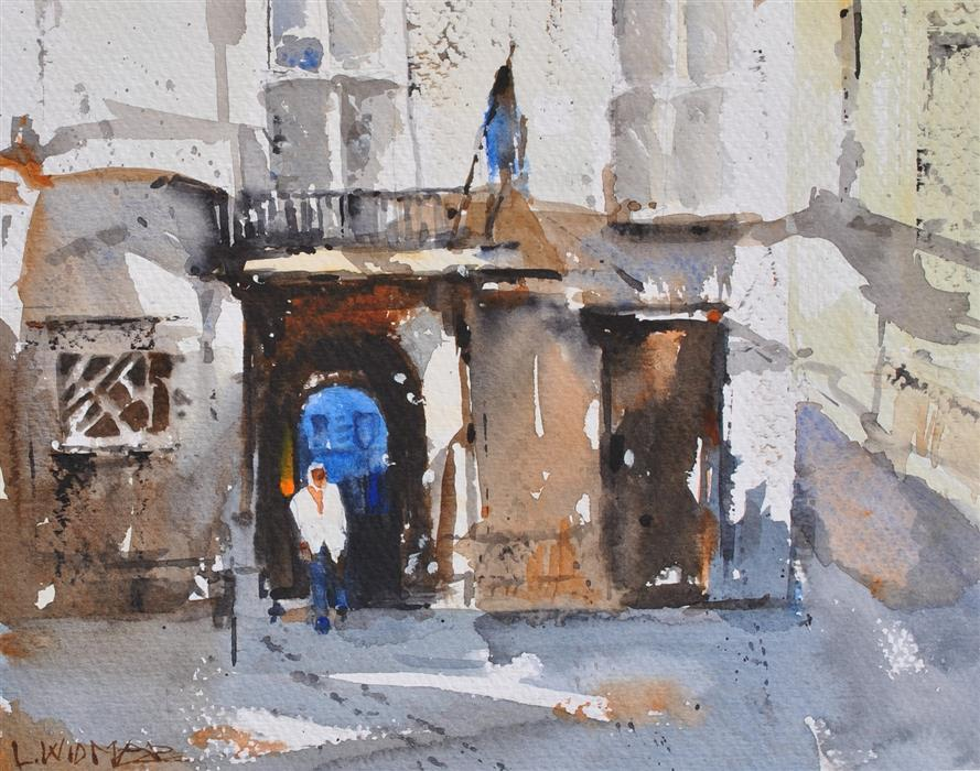 Discover Original Art by Lanie Widmar | Ciutadella Street Scene watercolor painting | Art for Sale Online at UGallery