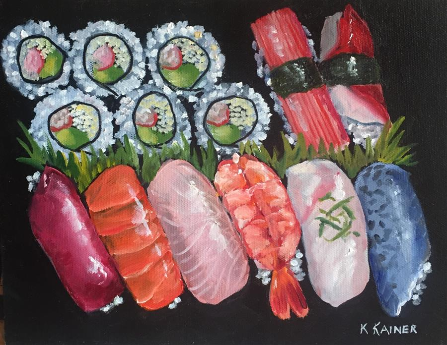 Discover Original Art by Kristine Kainer | Sushi II oil painting | Art for Sale Online at UGallery