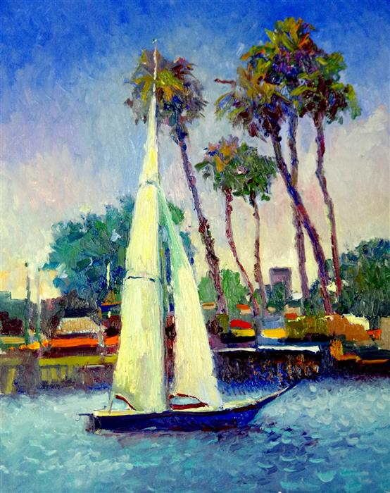 Discover Original Art by Suren Nersisyan | Sailboat, Morning in Long Beach oil painting | Art for Sale Online at UGallery