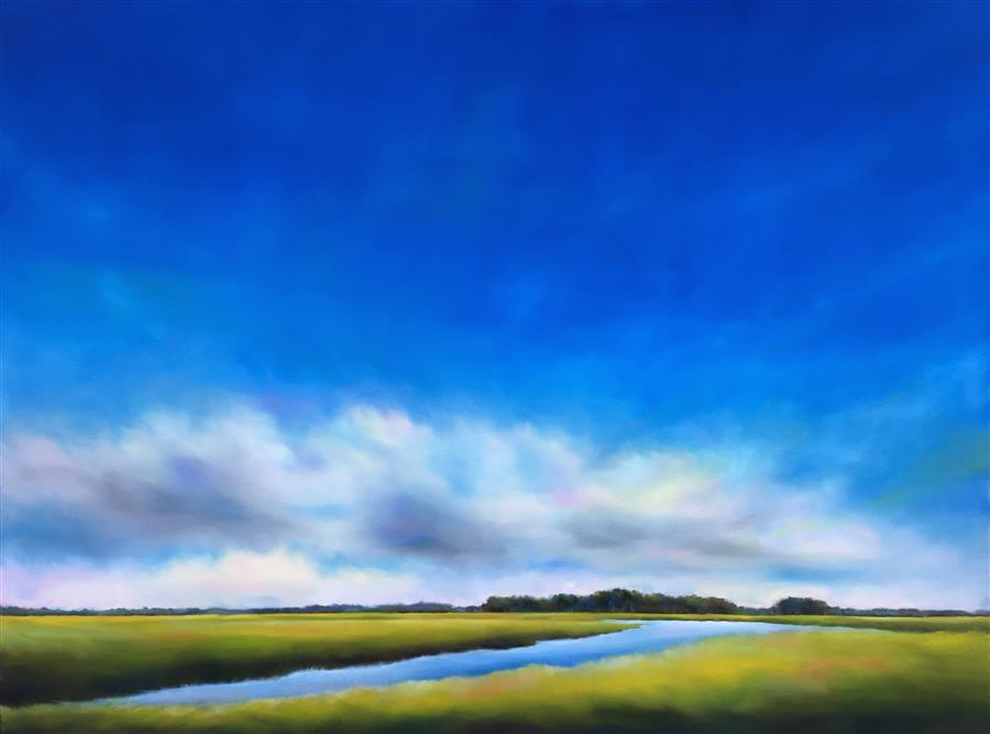 Discover Original Art by Nancy Hughes Miller | Blue Sky Marsh Creek oil painting | Art for Sale Online at UGallery