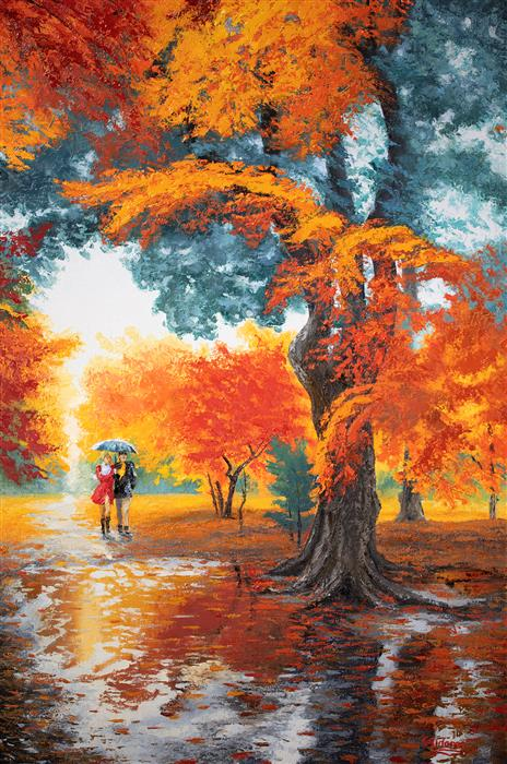 Discover Original Art by Stanislav Sidorov | Red Hot Autumn oil painting | Art for Sale Online at UGallery