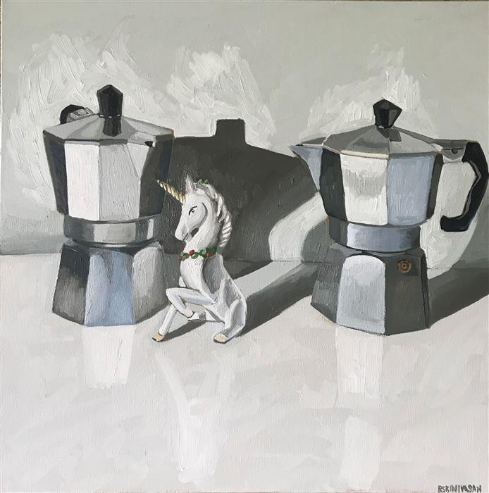 Discover Original Art by Rachel Srinivasan | Unicorn Coffee II oil painting | Art for Sale Online at UGallery