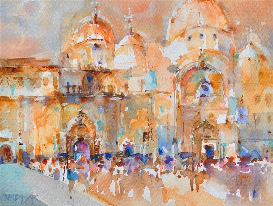 Discover Original Art by Lanie Widmar | St. Mark's Piazza #2 watercolor painting | Art for Sale Online at UGallery