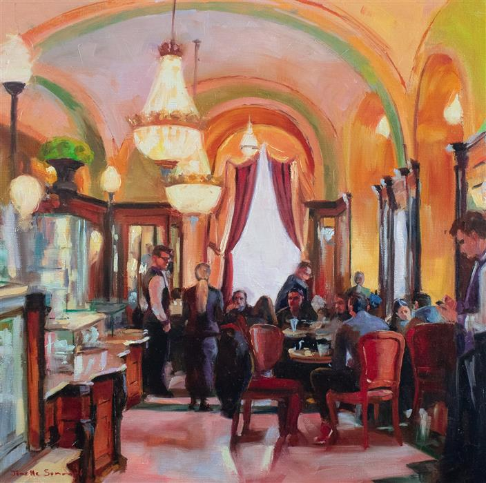 Discover Original Art by Jonelle Summerfield | Cafe Gerbeaud oil painting | Art for Sale Online at UGallery