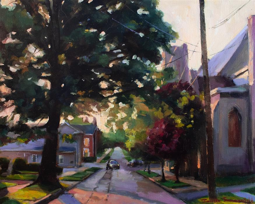 Discover Original Art by Jonelle Summerfield | Sunrise on Church Street oil painting | Art for Sale Online at UGallery