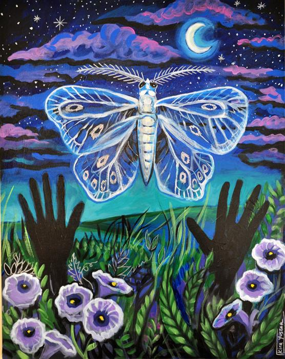 Discover Original Art by Kira Yustak | Moonlit Moth acrylic painting | Art for Sale Online at UGallery