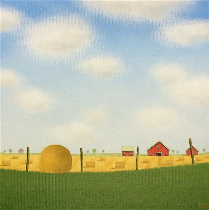 Discover Original Art by Sharon  France | Bales in a Summer Field acrylic painting | Art for Sale Online at UGallery