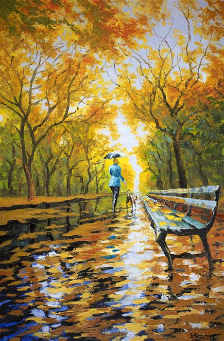 Discover Original Art by Stanislav Sidorov | Walking the Dog. Autumn Alley. oil painting | Art for Sale Online at UGallery
