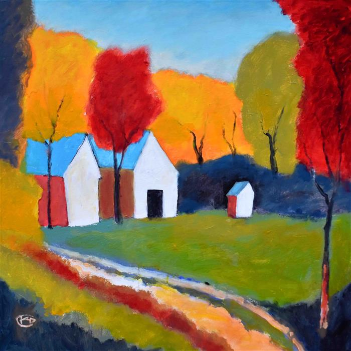 Discover Original Art by Kip Decker | Autumn on the Farm acrylic painting | Art for Sale Online at UGallery