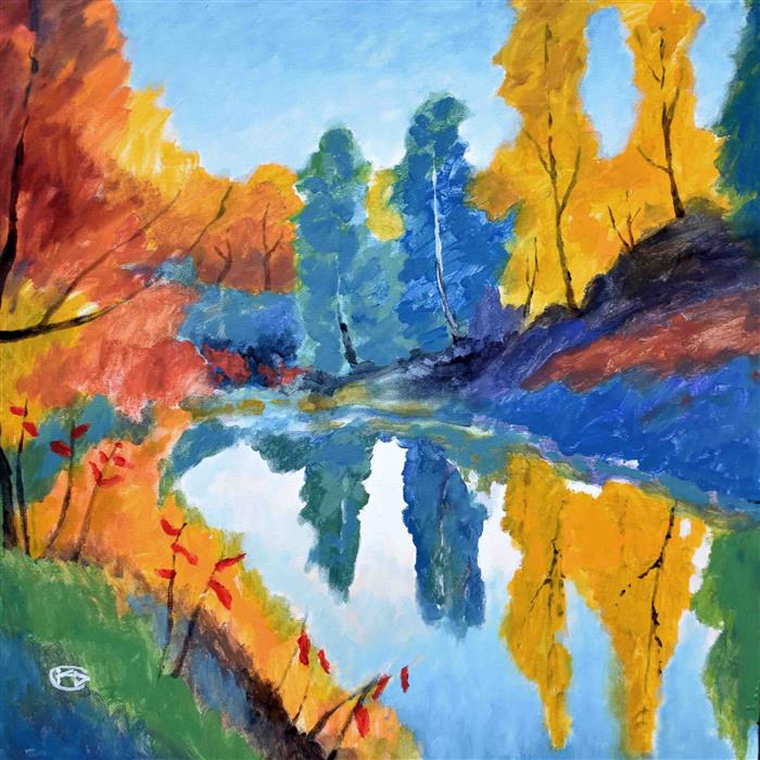 Discover Original Art by Kip Decker | Autumn on the Pond acrylic painting | Art for Sale Online at UGallery