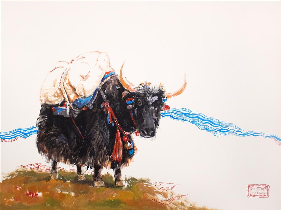 Discover Original Art by Yuvak Tuladhar | Yak with Blue Lines acrylic painting | Art for Sale Online at UGallery