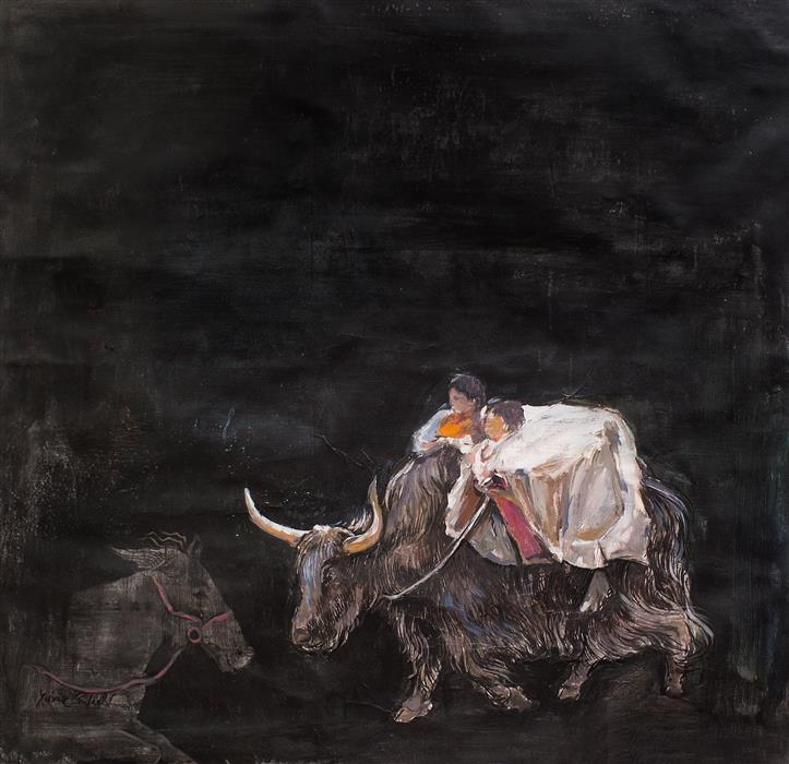 Discover Original Art by Yuvak Tuladhar | Yak & a Horse acrylic painting | Art for Sale Online at UGallery