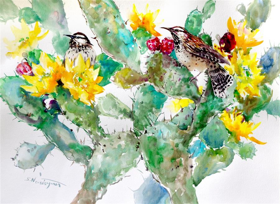 Discover Original Art by Suren Nersisyan | Cactus Wren and Prickly Pear watercolor painting | Art for Sale Online at UGallery